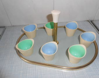50s tray with egg cups pastel
