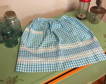 Vintage Apron - Checkered Apron - Blue Apron - Gingham Apron - Retro Apron - Apron with Pocket