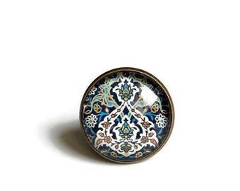 ring bronze * Casablanca * blue Moroccan Eastern mosaic tiles, glass cabochon