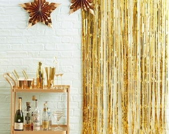 Gold Fringe Curtain | Gold Wall Decoration | Christmas Decoration | Christmas Party | New Years Party | Gold Curtain | Gold Foil Backdrop