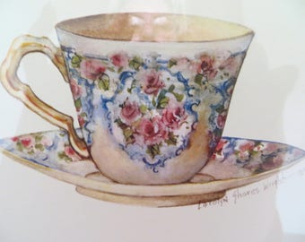 English Tea Cup Coffee Cup water color print English Tea Cup Cottage  Carolyn Shores Wright 93