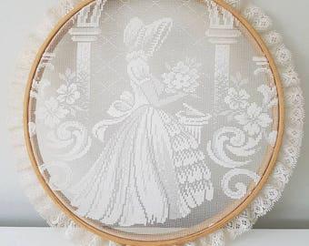 Crinoline lady wall hanging - lace crinoline lady in embroidery hoop - vintage art - vintahe wall hanging
