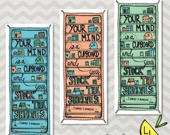 LDS Bookmarks, Cupboard Quote, Cute Bookmarks, Mint Peach and Teal, Hand drawn, Thomas S. Monson, lds bookmarks, lds handouts, LDS gifts