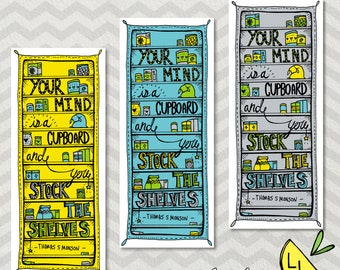 LDS Bookmarks, Cupboard Quote, Cute Bookmarks, Gray Yellow and Blue, Thomas S. Monson, , lds bookmarks, lds handouts, LDS gifts, LDS prints