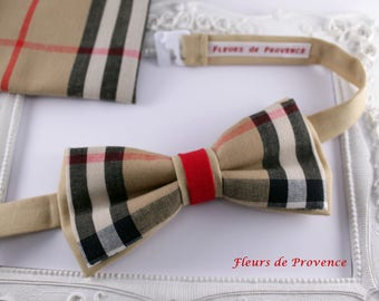 Set Tartan double bowtie and Pocket Costume Camel, red and black - man