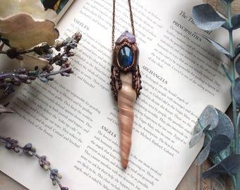 Octopus Necklace, Mermaid Necklace, Mermaid Treasure, Polymer Clay Necklace, Labradorite Necklace, Vegan Necklace, Pirates of Caribbean