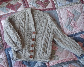 Hand Knit Girls Aran Cardigan