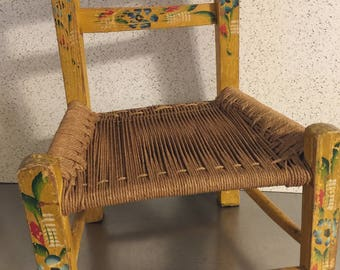 Vintage Wood Child Sized Chair | Hand Painted Flowers | Woven Seat | Made  In Mexico