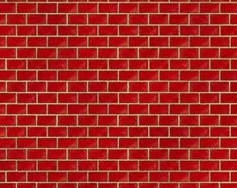 Landscape Fabric / Bricks Fabric / Landscape Yardage South Sea Imports 54342 /  Red Brick Fabric / Yardage and Fat Quarters