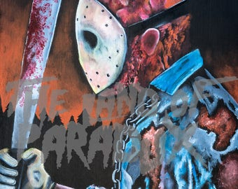 Jason Voorhees Friday The 13th metallic print of original artwork