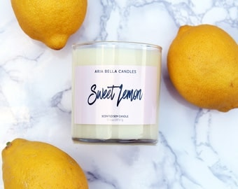 Lemon Scented Soy Candle - White - Soy Candle - Citrus