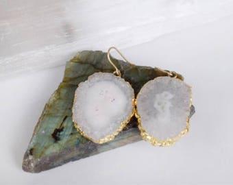 Large gemstone statement earrings, white gemstone earrings, solar druzy earrings