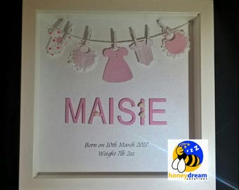 Personalised Baby Girl Frame,Unique Baby Gift, Personalised Baby Girl Gift, New Baby girl, Baby Keepsake, Baby Birth Announcement Frame