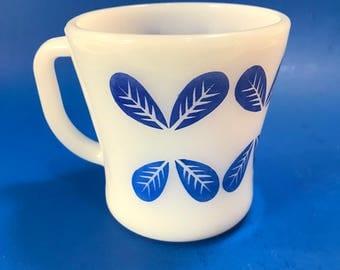Vintage Retro Federal Milk Glass Coffee Mug Cup Federal Glass Mug with Blue Petals Hard to Find Federal Glass Gift for Mom Gift for Sister