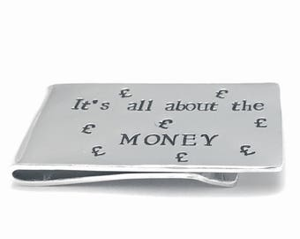 Personalised money clip, mens gift, hand stamped, metal wallet clip, wedding favour, customised father gift, aluminium bill fold, graduation