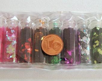 Lot 12 Fioles bouteilles PAILLETTES forme LOSANGE mix couleurs
