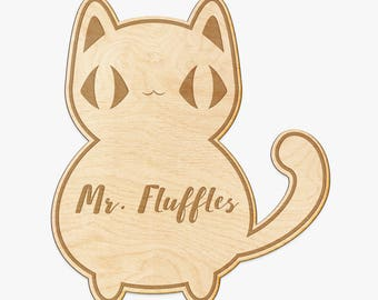 Kitty Cat Custom Engraved Wood Sign - Custom Wood Name, Personalized Pet Gift, Engraved Wood Pet Name, Pet Name Wood Sign, Cat Lover Gift