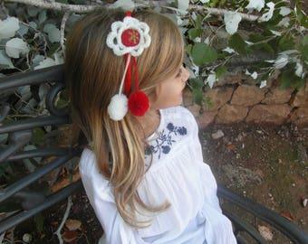 Crochet, crochet handbands, black friday, pompom, pom pom, pompom garland, girls bows, red and white flowers, buttons red, hair accessories