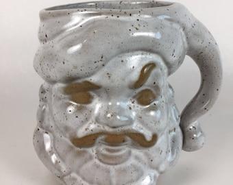 RARE Vintage David Stewart Lion's Valley Pottery Ceramic Santa Face Mug Cup