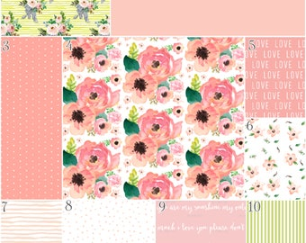 Floral Watercolor Peonies Nursery Bedding Crib Set, Baby Girl, Flowers, Roses, Coral Pink Green Peach Bouquet Love