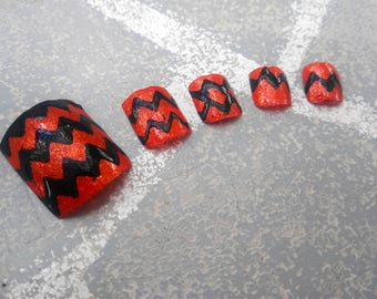 Halloween inspired Jack O Lantern themed press on false fake toe nails, Glue on toenails, costume cosplay accessories, drag queen nails
