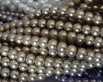 50 glass beads 8 mm steel gray