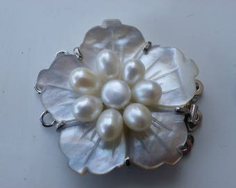 size mother of Pearl abalone clasp by hand with 8 pearls 34 mm and 13 mm thick