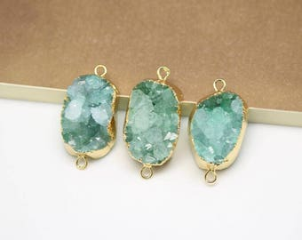 Golden Plated Edged Double Loops Charms Jewelry,Natural Green Drusy Quartz Agate Slice Pendants Necklace
