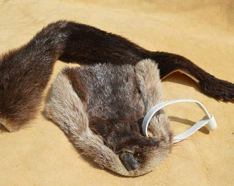 Tanned Otter Face and Tail - Salvaged Fur