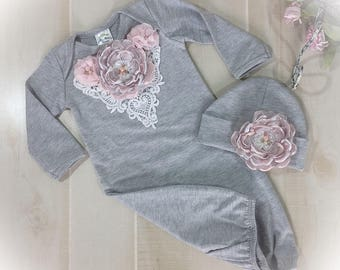 Newborn Girl Take Home Outfit, Pink Gray Layette Gown, Newborn Gown, Coming Home Gown