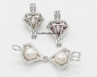 5pcs Diamond Hollow Locket Stainless Steel Tone Rock Bead Pearl Cage Pendant Aromatherapy Perfume Diffuser Locket Charms-AL134