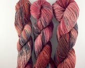 Hand dyed/ recycled yarn/ DK/ red/ pink/ grey/ speckled yarn/ 100 per cent wool/ zero waste/ Heartbeats