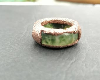 Moss agate ring | Moss green ring | Moss ring | electroformed | Gifts for her | Electroformed ring | Bohemian | Raw stone ring | Agate