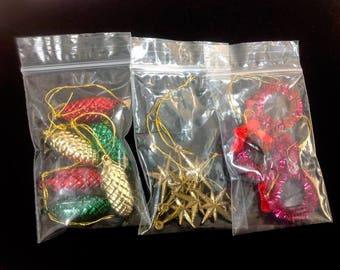 Vintage,Christmas,Miniature Ornaments ,Faux Mercury,Plastic,Retro Decor,Tree Decor,Miniature tree decor,Green,Red,Golden,Wreath, cone, star