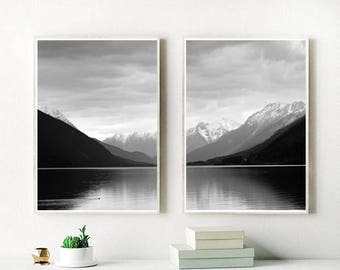 Set Of 2 Prints, Mountain Print, Landscape Print, Black And White, Printable Art, Wall Art,  Home Decor, Instant Download