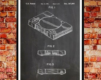 Playstation Poster Playstation Print Playstation Video Game Art Gaming Decor PS4 Wall Art PS4 Patent Print  Wall Art Patent Prints #WB013