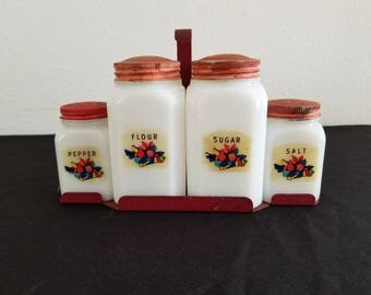 Milk Glass Condiment Set with Carrier