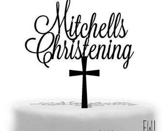 Personalised  Christening  Cake topper  with cross underneath Australian made in Melbourne