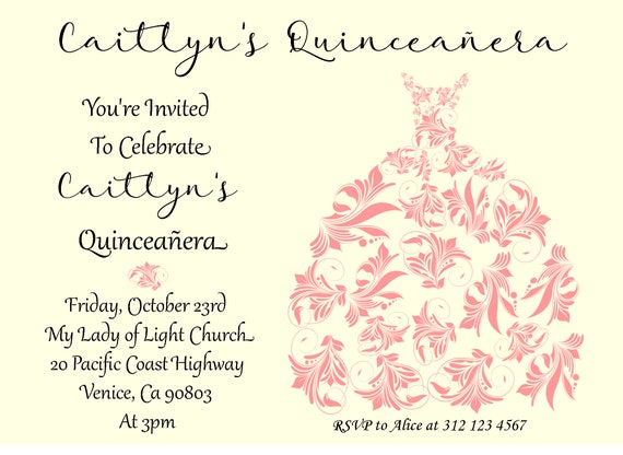 Quinceanera Invitation sweet sixteen invitation – Sweet Sixteen Invitation Cards
