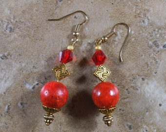 Red coral earrings with gold accents and ear wires - ME160