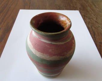 Vintage Fort Ticonderoga Swirl Pottery Vase Souvenir Henry Graack