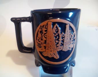 Vintage Frankoma Blue Oil Derrecks and Grasshopper Footed Pottery Mug