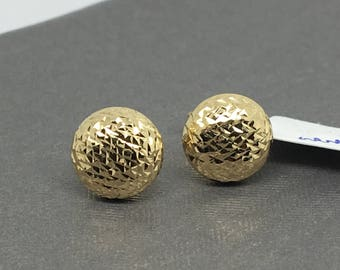 14K Yellow Hold Diamond Ball Stud Earrings
