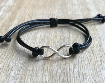 Infinity Bracelet, Black Bracelet, Gift for her, Gift for him, Minimalist Bracelet, Friendship Bracelet  LB001266