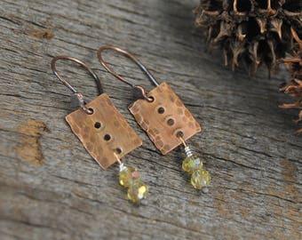 Copper Drop Earrings, Rustic Copper Earrings, Rustic Earrings, Beaded Earrings, Minimalist Earrings