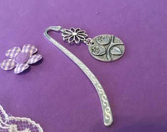 Owl Bookmark, Owl and Flower Charm Bookmark
