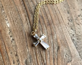 14k gold filled choker necklace-clear white CZ cross pendant-gift for her-layered necklace