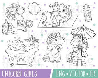 Unicorn Clipart Images, Unicorn Bubble Bath Clipart, Fitness Planner Clipart, Unicorn Digital Stamps, Cute Unicorn PNG, Unicorn Vectors