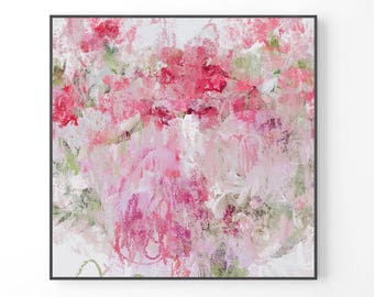 Abstract Painting, large wall art, white wall art, print from original painting, pink abstract art print, uk art, floral artwork, rose peony