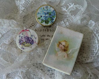 Vintage stationery 3 miniature cardboard bottles jewelry art romantic nostalgic